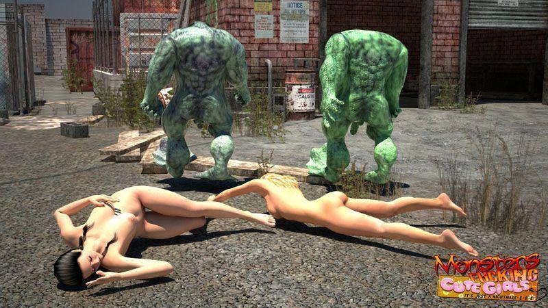 Garotas de Biquini - Duas garotas pegar por um monstro em 3D
