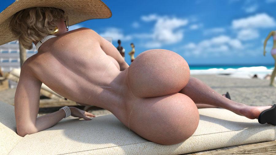 Suruba na Praia - Loira gostosa e safada na praia de nudismo