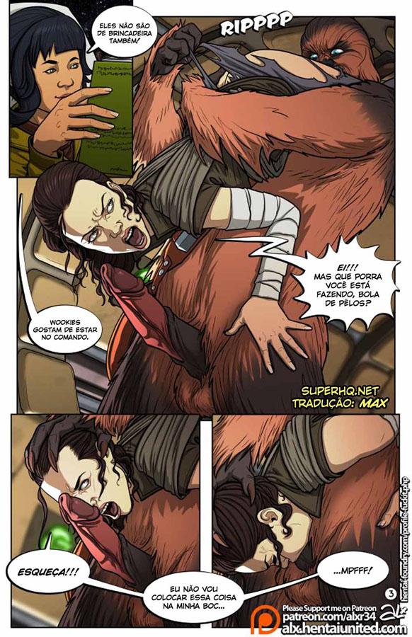 Star Wars - Paródia Pornô: Chewbacca comendo a força a deliciosa Rey
